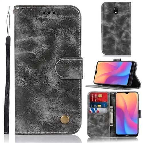 Luxury Retro Leather Wallet Case for Mi Xiaomi Redmi 8A - Gray