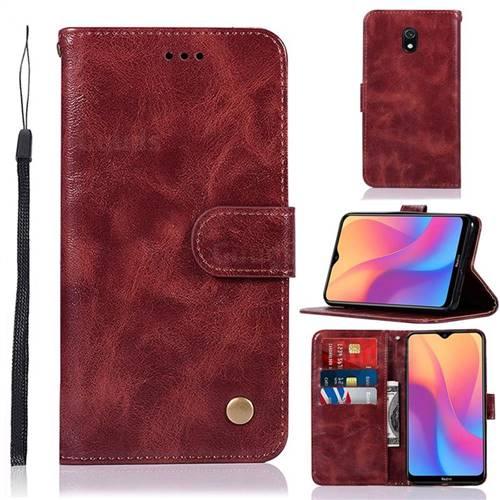 Luxury Retro Leather Wallet Case for Mi Xiaomi Redmi 8A - Wine Red