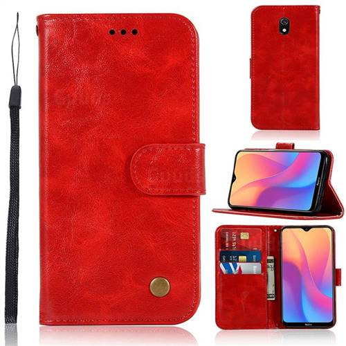 Luxury Retro Leather Wallet Case for Mi Xiaomi Redmi 8A - Red