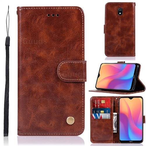 Luxury Retro Leather Wallet Case for Mi Xiaomi Redmi 8A - Brown