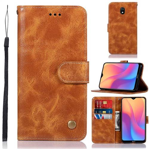 Luxury Retro Leather Wallet Case for Mi Xiaomi Redmi 8A - Golden