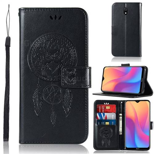 Intricate Embossing Owl Campanula Leather Wallet Case for Mi Xiaomi Redmi 8A - Black