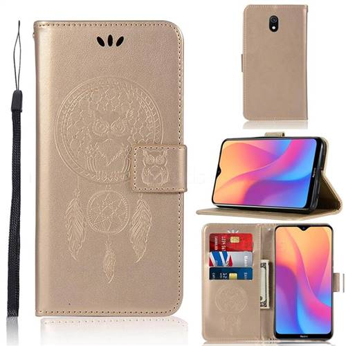Intricate Embossing Owl Campanula Leather Wallet Case for Mi Xiaomi Redmi 8A - Champagne