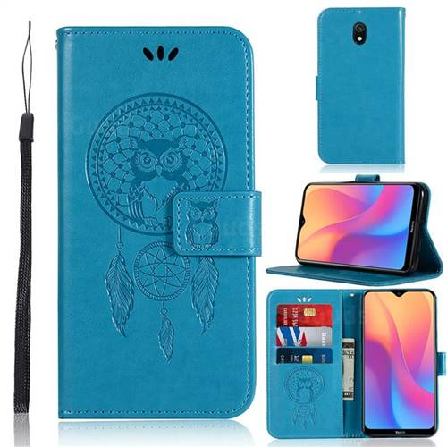 Intricate Embossing Owl Campanula Leather Wallet Case for Mi Xiaomi Redmi 8A - Blue