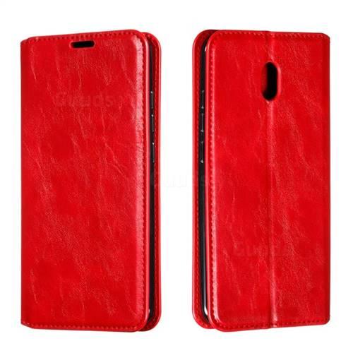 Retro Slim Magnetic Crazy Horse PU Leather Wallet Case for Mi Xiaomi Redmi 8A - Red
