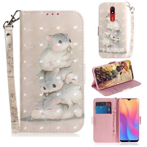 Three Squirrels 3D Painted Leather Wallet Phone Case for Mi Xiaomi Redmi 8A