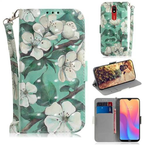 Watercolor Flower 3D Painted Leather Wallet Phone Case for Mi Xiaomi Redmi 8A