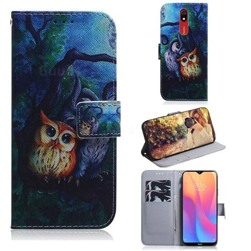 Oil Painting Owl PU Leather Wallet Case for Mi Xiaomi Redmi 8A