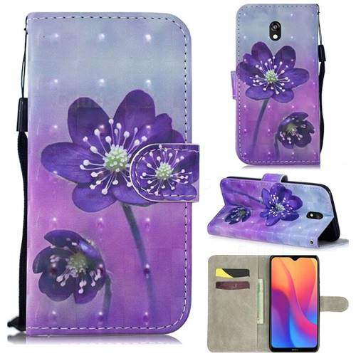 Purple Flower 3D Painted Leather Wallet Phone Case for Mi Xiaomi Redmi 8A