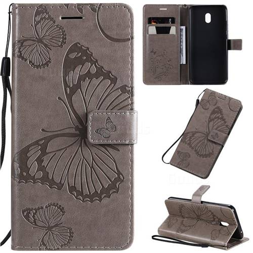 Embossing 3D Butterfly Leather Wallet Case for Mi Xiaomi Redmi 8A - Gray