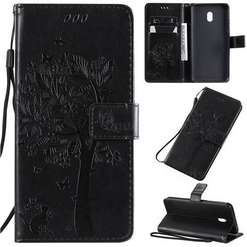 Embossing Butterfly Tree Leather Wallet Case for Mi Xiaomi Redmi 8A - Black