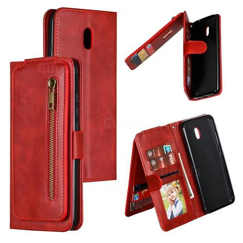 Multifunction 9 Cards Leather Zipper Wallet Phone Case for Mi Xiaomi Redmi 8A - Red