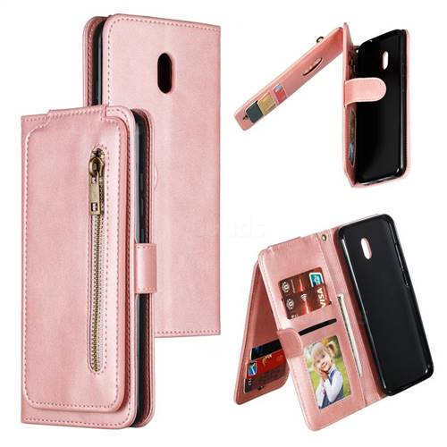 Multifunction 9 Cards Leather Zipper Wallet Phone Case for Mi Xiaomi Redmi 8A - Rose Gold