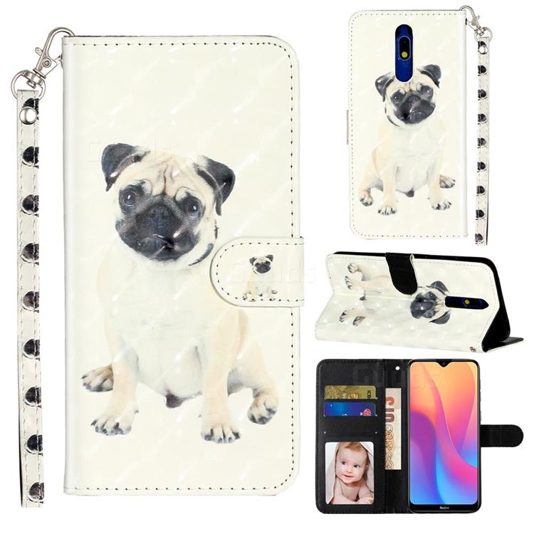 Pug Dog 3D Leather Phone Holster Wallet Case for Mi Xiaomi Redmi 8A