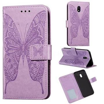 Intricate Embossing Vivid Butterfly Leather Wallet Case for Mi Xiaomi Redmi 8A - Purple