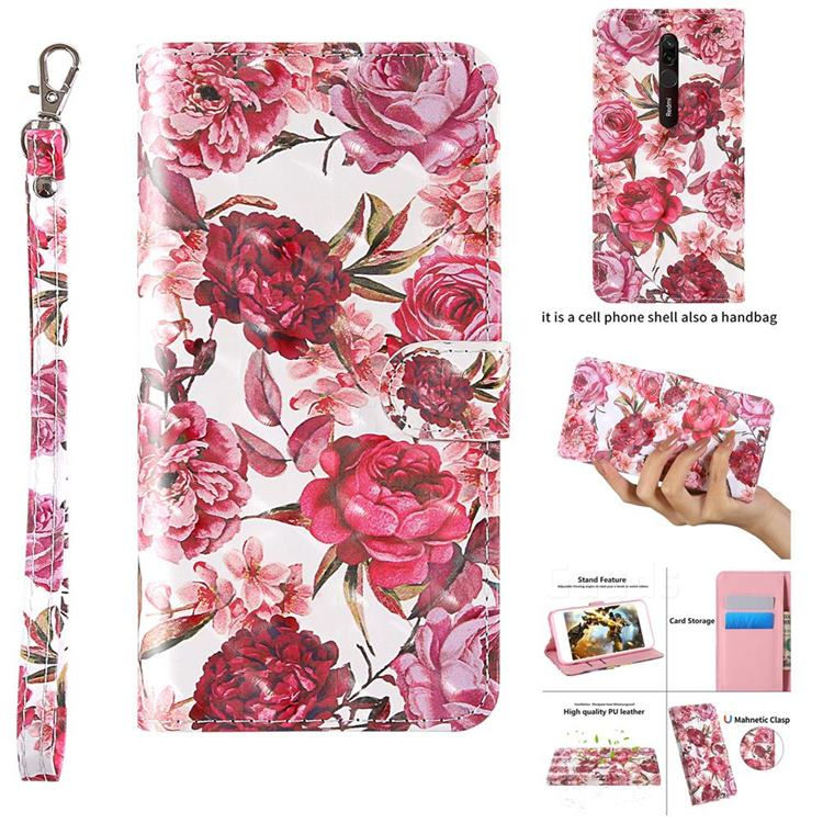 Red Flower 3D Painted Leather Wallet Case for Mi Xiaomi Redmi 8A