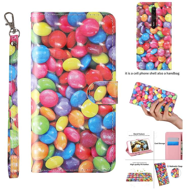 Colorful Jelly Beans 3D Painted Leather Wallet Case for Mi Xiaomi Redmi 8A