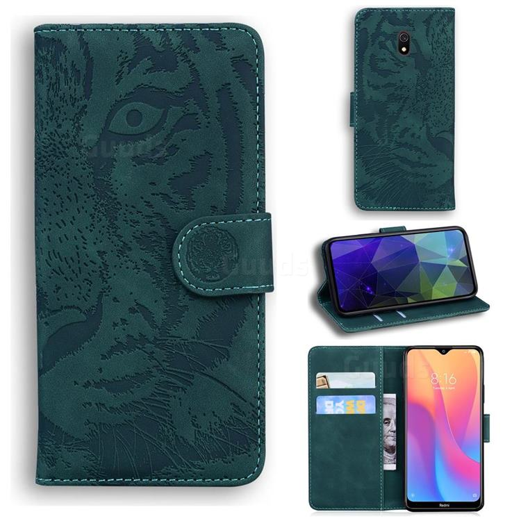 Intricate Embossing Tiger Face Leather Wallet Case for Mi Xiaomi Redmi 8A - Green