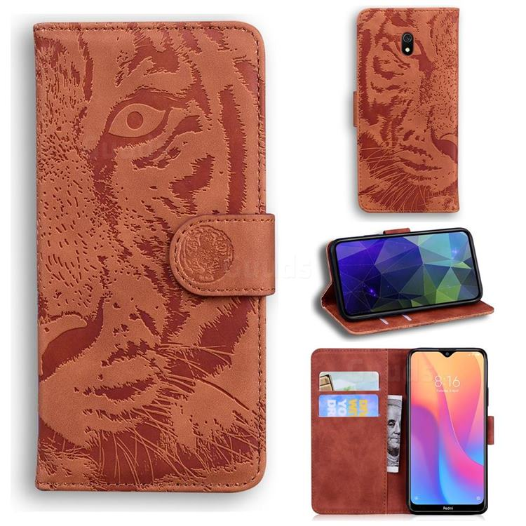 Intricate Embossing Tiger Face Leather Wallet Case for Mi Xiaomi Redmi 8A - Brown