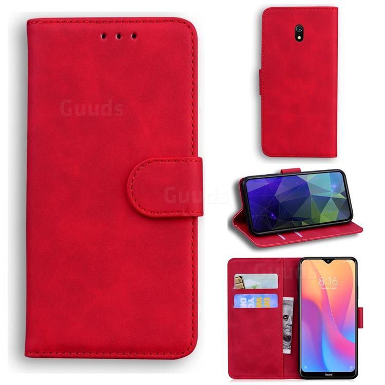 Retro Classic Skin Feel Leather Wallet Phone Case for Mi Xiaomi Redmi 8A - Red