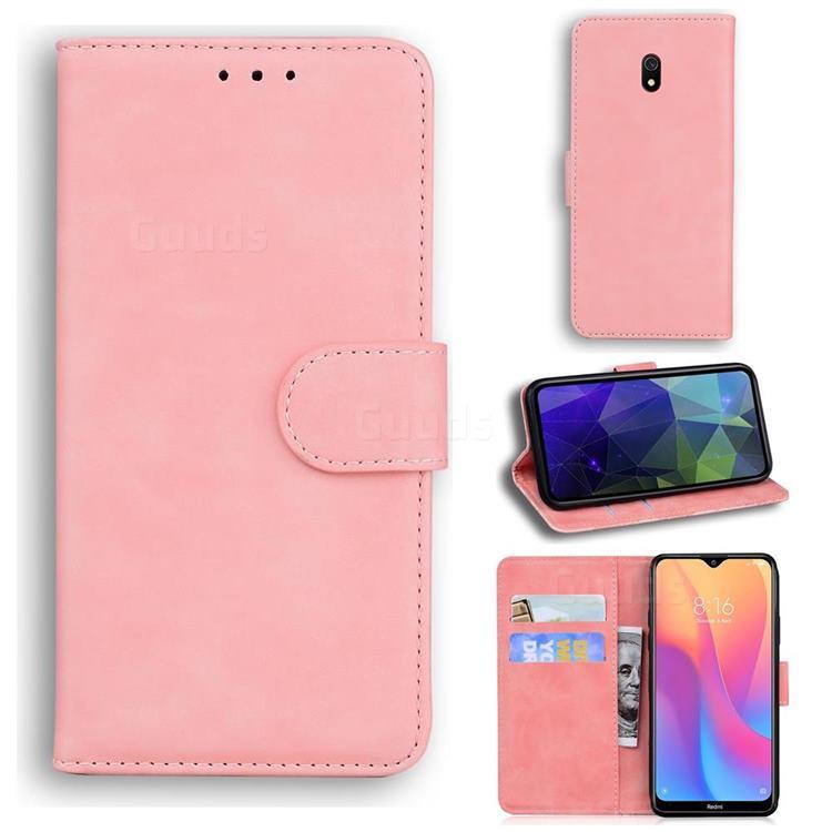 Retro Classic Skin Feel Leather Wallet Phone Case for Mi Xiaomi Redmi 8A - Pink