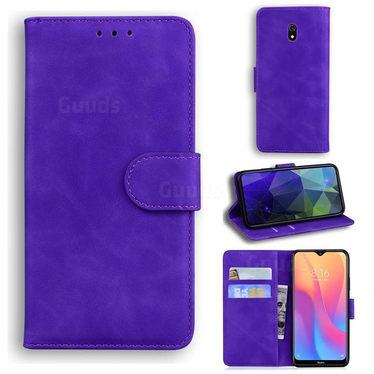 Retro Classic Skin Feel Leather Wallet Phone Case for Mi Xiaomi Redmi 8A - Purple