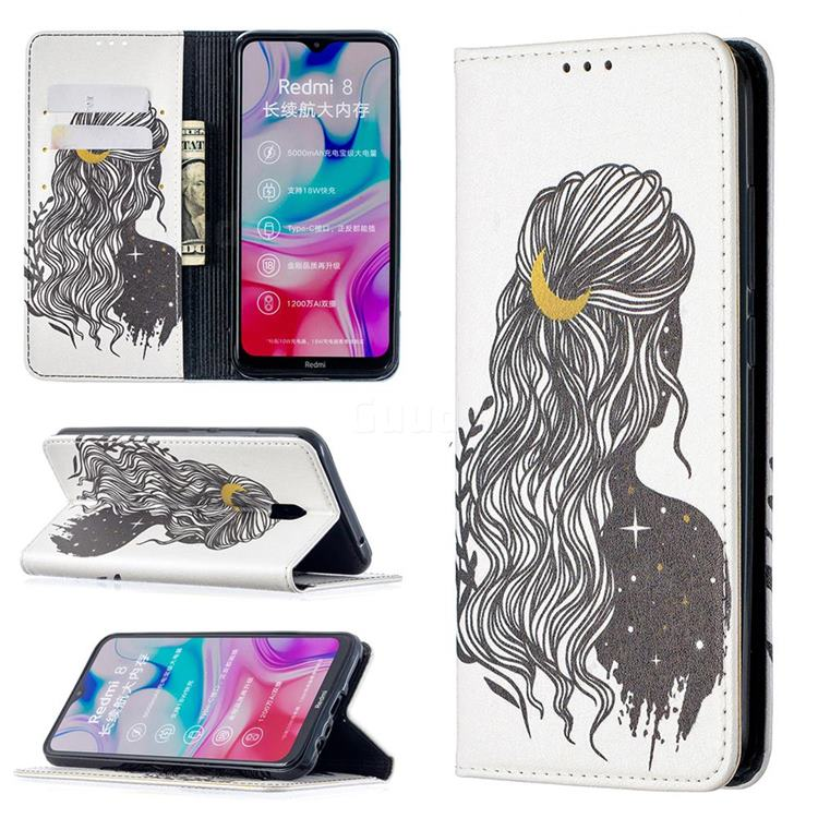 Girl with Long Hair Slim Magnetic Attraction Wallet Flip Cover for Mi Xiaomi Redmi 8A