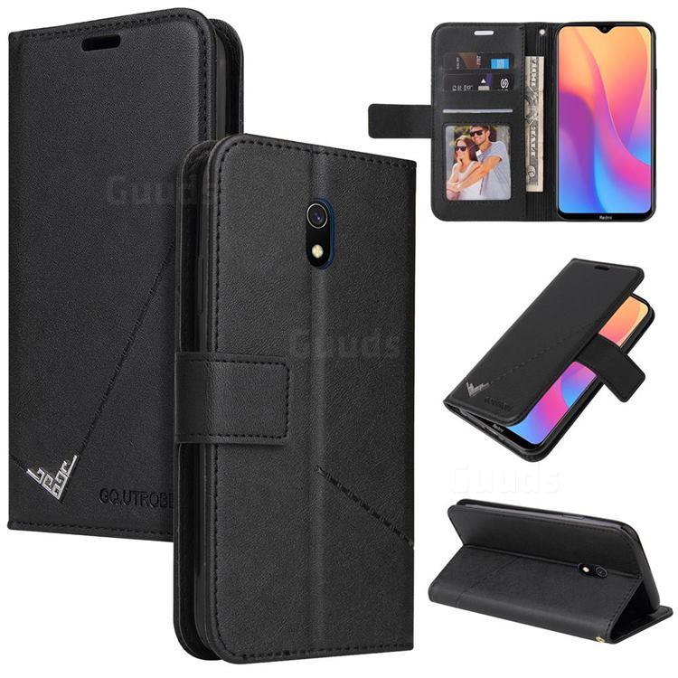 GQ.UTROBE Right Angle Silver Pendant Leather Wallet Phone Case for Mi Xiaomi Redmi 8A - Black
