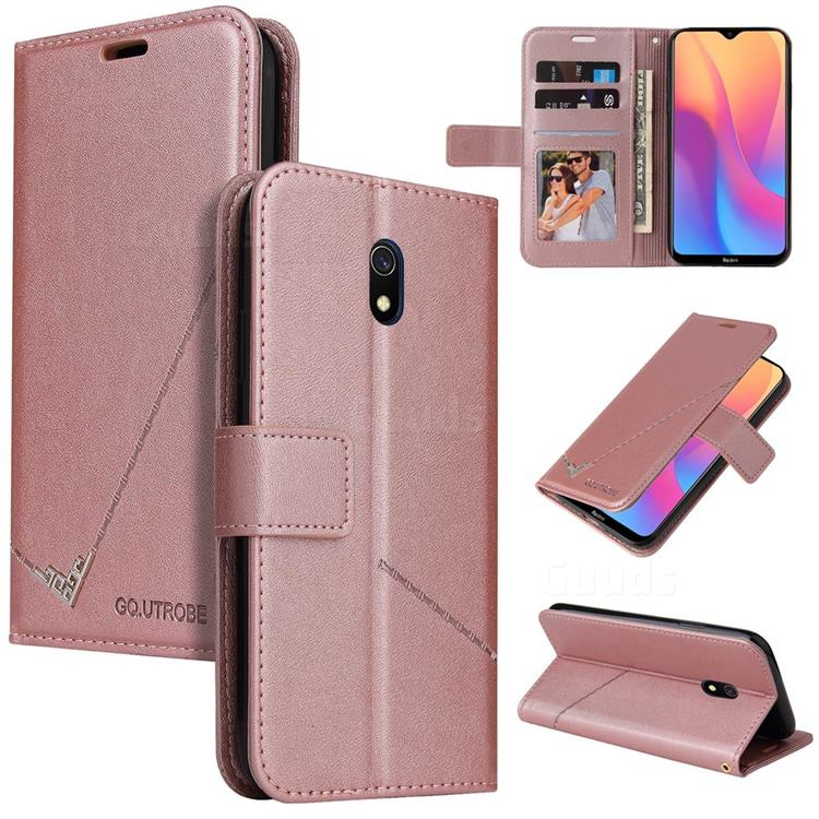 GQ.UTROBE Right Angle Silver Pendant Leather Wallet Phone Case for Mi Xiaomi Redmi 8A - Rose Gold
