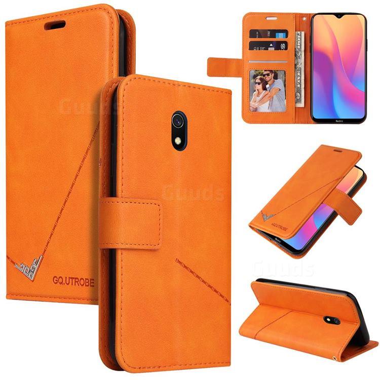GQ.UTROBE Right Angle Silver Pendant Leather Wallet Phone Case for Mi Xiaomi Redmi 8A - Orange