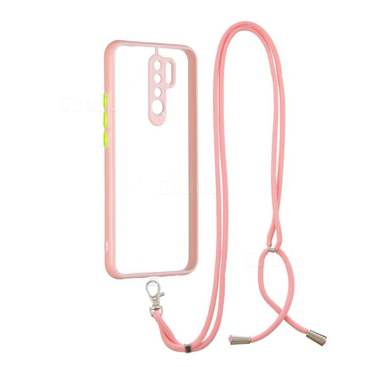 Necklace Cross-body Lanyard Strap Cord Phone Case Cover for Xiaomi Redmi 9 - Pink