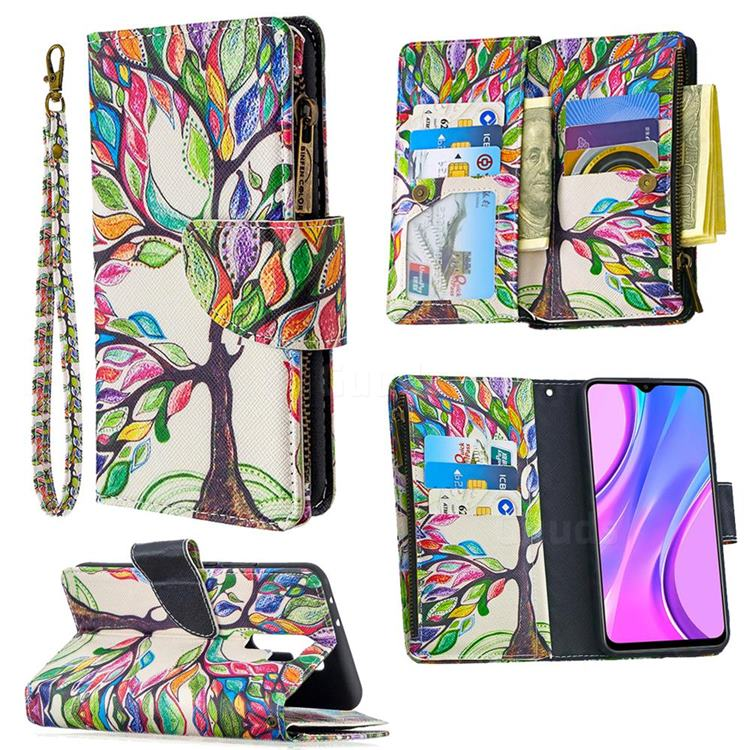 The Tree of Life Binfen Color BF03 Retro Zipper Leather Wallet Phone Case for Xiaomi Redmi 9