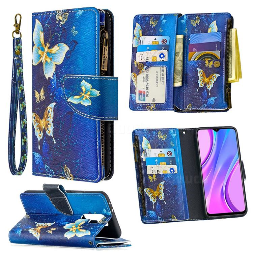 Golden Butterflies Binfen Color BF03 Retro Zipper Leather Wallet Phone Case for Xiaomi Redmi 9