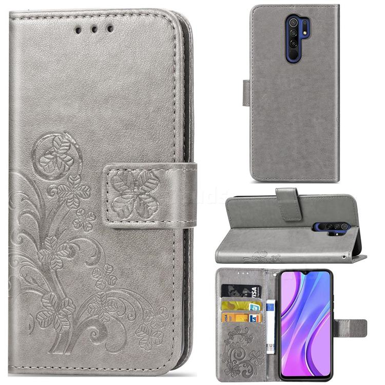 Embossing Imprint Four-Leaf Clover Leather Wallet Case for Xiaomi Redmi 9 - Grey