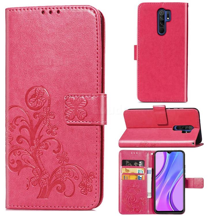 Embossing Imprint Four-Leaf Clover Leather Wallet Case for Xiaomi Redmi 9 - Rose Red
