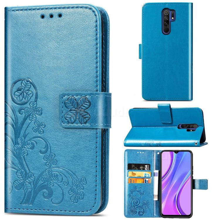 Embossing Imprint Four-Leaf Clover Leather Wallet Case for Xiaomi Redmi 9 - Blue