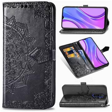 Embossing Imprint Mandala Flower Leather Wallet Case for Xiaomi Redmi 9 - Black