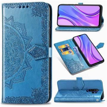 Embossing Imprint Mandala Flower Leather Wallet Case for Xiaomi Redmi 9 - Blue