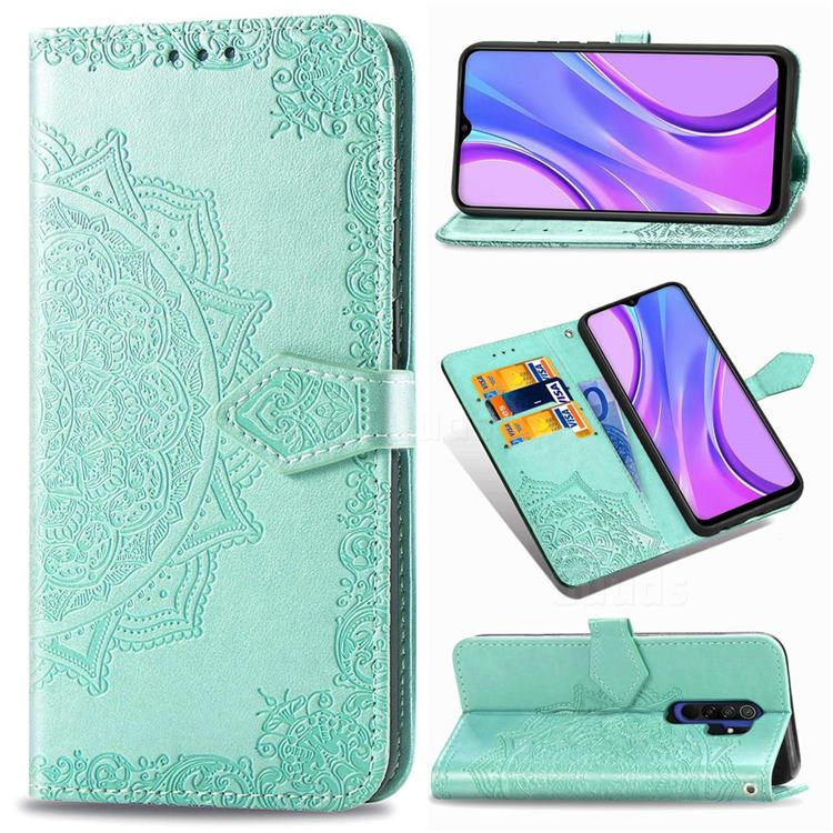Embossing Imprint Mandala Flower Leather Wallet Case for Xiaomi Redmi 9 - Green