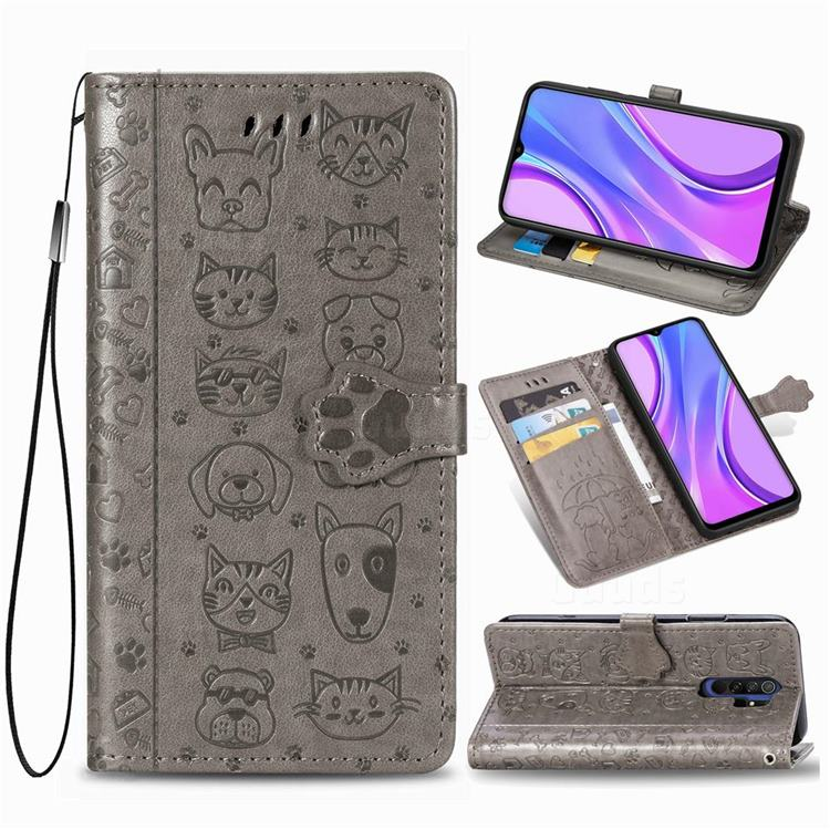 Embossing Dog Paw Kitten and Puppy Leather Wallet Case for Xiaomi Redmi 9 - Gray