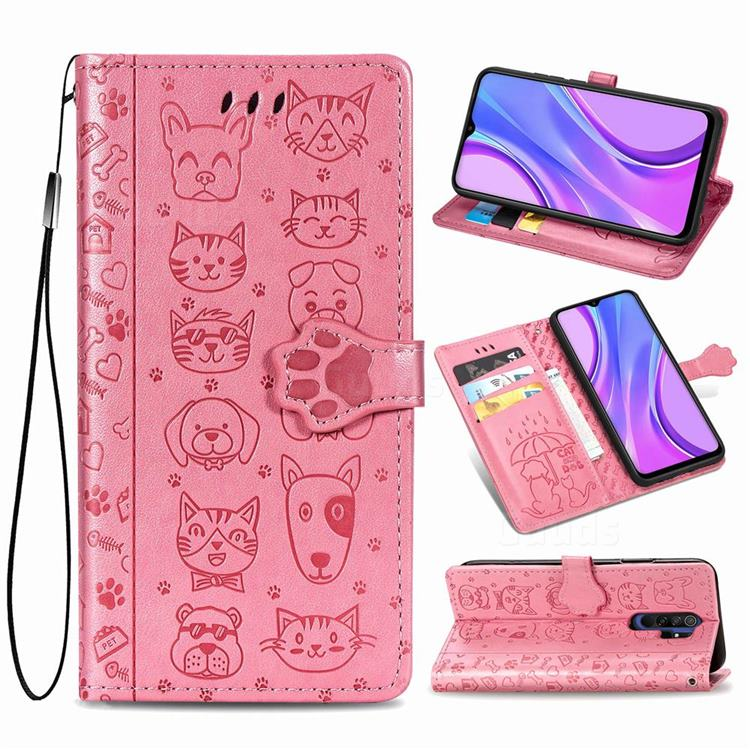 Embossing Dog Paw Kitten and Puppy Leather Wallet Case for Xiaomi Redmi 9 - Pink
