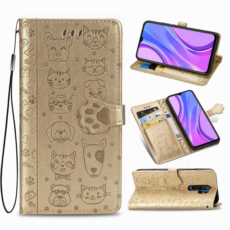 Embossing Dog Paw Kitten and Puppy Leather Wallet Case for Xiaomi Redmi 9 - Champagne Gold