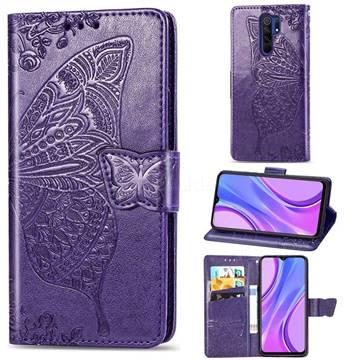 Embossing Mandala Flower Butterfly Leather Wallet Case for Xiaomi Redmi 9 - Dark Purple