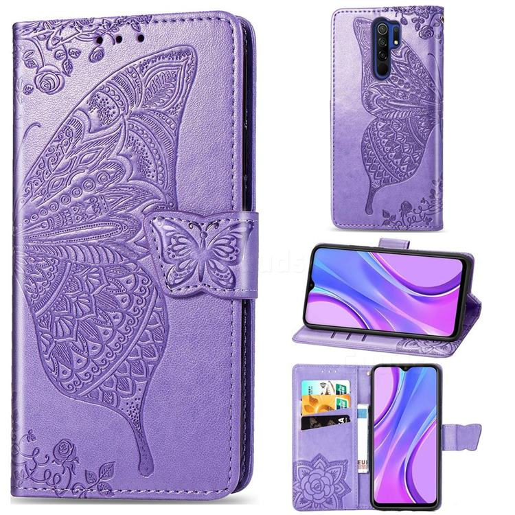 Embossing Mandala Flower Butterfly Leather Wallet Case for Xiaomi Redmi 9 - Light Purple