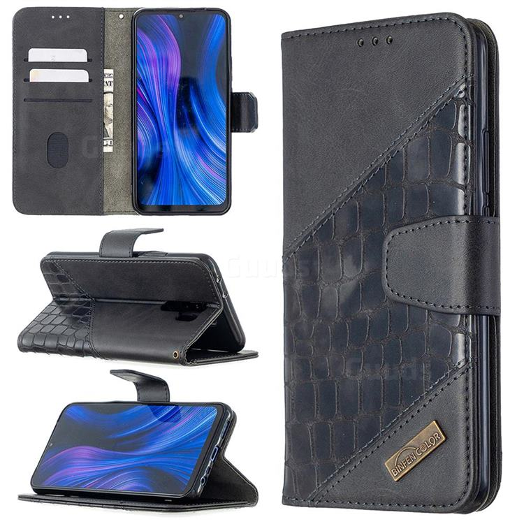 BinfenColor BF04 Color Block Stitching Crocodile Leather Case Cover for Xiaomi Redmi 9 - Black