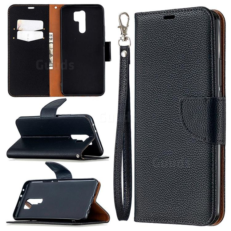 Classic Luxury Litchi Leather Phone Wallet Case for Xiaomi Redmi 9 - Black