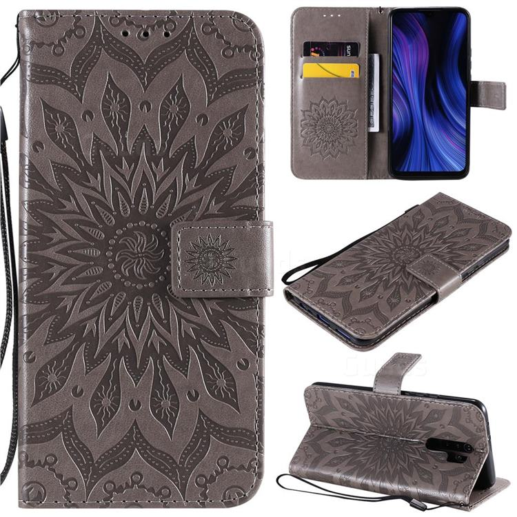 Embossing Sunflower Leather Wallet Case for Xiaomi Redmi 9 - Gray