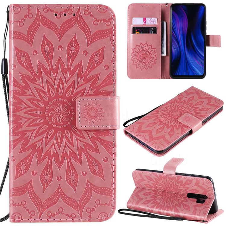 Embossing Sunflower Leather Wallet Case for Xiaomi Redmi 9 - Pink