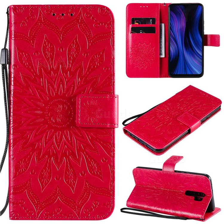 Embossing Sunflower Leather Wallet Case for Xiaomi Redmi 9 - Red