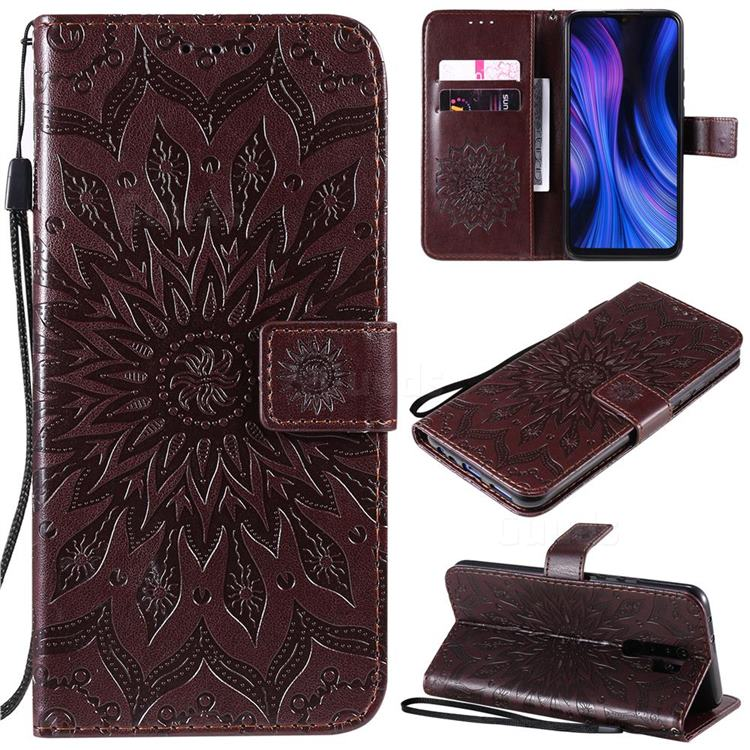 Embossing Sunflower Leather Wallet Case for Xiaomi Redmi 9 - Brown